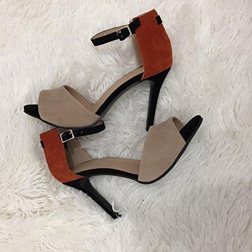 Femmes Sandales Cheville Chaussures Robe Talon D'été Haut Multicolore Kolnoo toe Strap Peep 7HdnzT