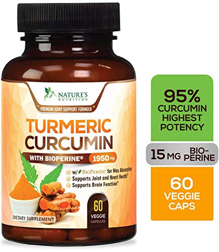 Turmeric Curcumin 95% Curcuminoids Highest Potency 1950mg with Bioperine Black Pepper for Best Absorption Made in USA Best Vegan Joint Pain Relief Turmeric Pills by Natures Nutrition  60 Capsules