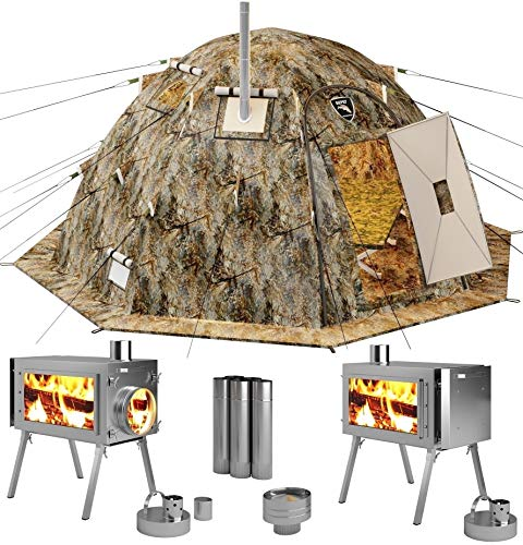 Russian-Bear Hot Tent with Stove Pipe Vent. Hunting Fishing Outfitter Tent with Wood Stove. 4 Season Tent. Expedition Arctic Living Warm Tent. Fishermen, Hunters and Outdoor Enthusiasts! 5 Person Kit