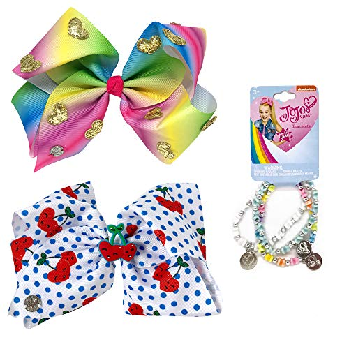 Jojo Siwa Girl's Bow Set 2 Bows and 3 Pack of Bracelets - Rainbow and Gold Hearts, White Polkadot with Cherries