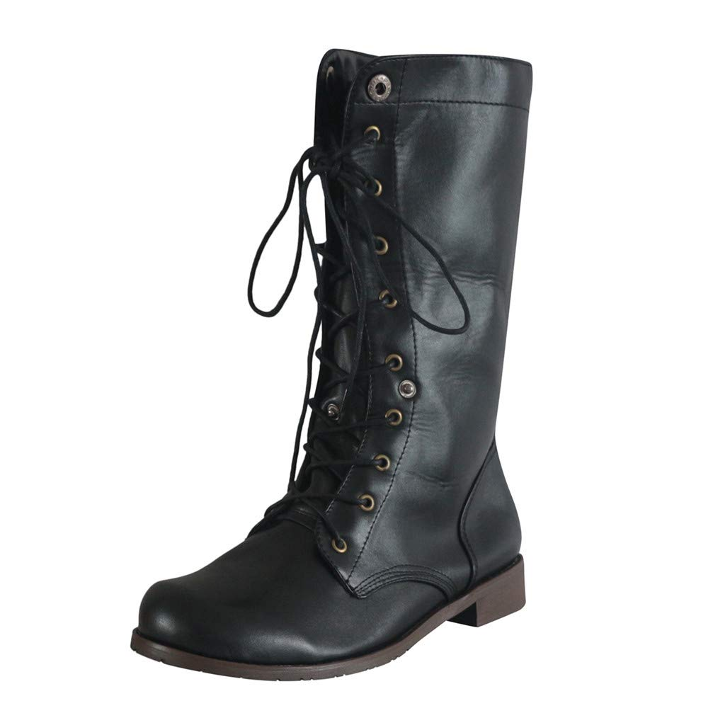 Women's Ankle Lace Up Military Combat Booties Retro Low Heel Height Boots (US:10.5, Black) by sweetnice Women Shoes
