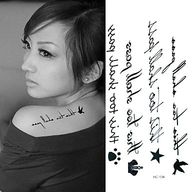 Wholesale WST English Letter Line Tattoo Stickers Temporary Tattoos(1 Pc) hot sale
