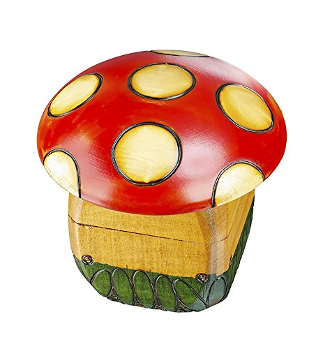 Red White Mushroom (Toadstool Mushroom Handmade Wooden Box Polish Fairy Tales Red & White Mushroom Keepsake)