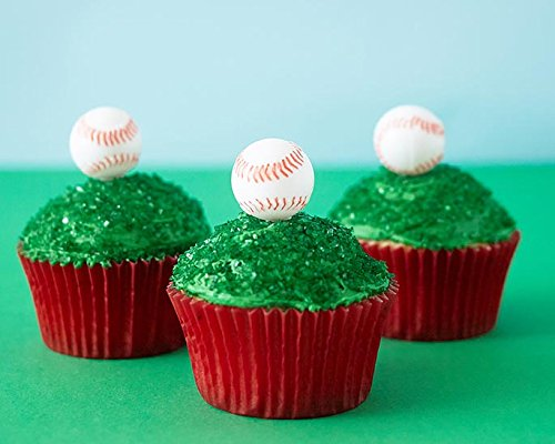 (24) Baseball Cupcake Kit - Plastic 3D Baseball Topper Picks, Red Baking Cups, Green Sugar Sprinkles (Topper Red Cake Sox)