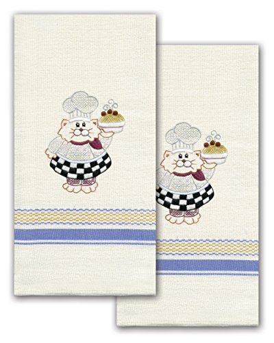 Tobin T212939 Stamped Kitchen Towel for Embroidery, Cat Chef