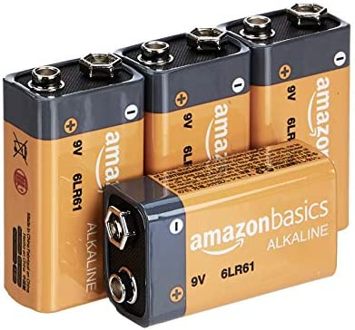 AmazonFundamentals 9 Volt Everyday Alkaline Batteries - Pack of four
