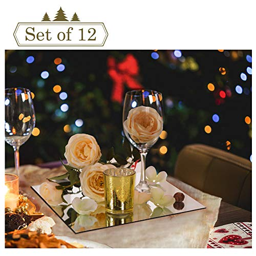 12-inch Square Mirror Trays for Christmas Decoration, Mirror Plate, Candle Tray, Wedding Centerpieces, 12 Pack, Rounded Edge, 2mm Thickness (Tray Decoration)