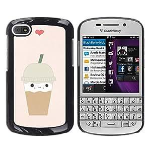 Cubierta protectora del caso de Shell Plástico || BlackBerry Q10 || Coffee Heart Brown Cute @XPTECH