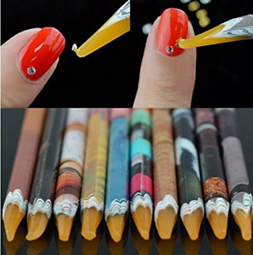 Self Adhesive Resin Rhinestones Picker Pencil Nail Art Gem Crystal Pick up Tool Wax Pen Long 10Pcs