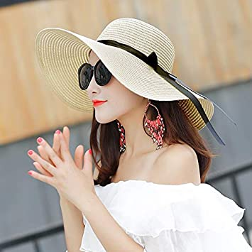 2ed284c78 Lessonmart Summer Straw hat Women Big Wide Brim Beach hat Sun hat ...