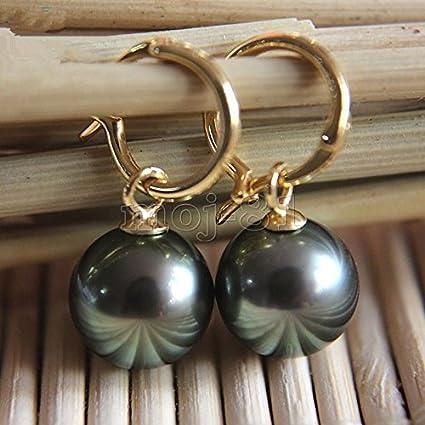 14 mm TAHITIAN BLACK South Sea Shell Pearl Silver Dangle Earrings