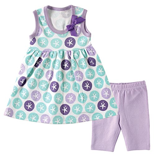 Gathered Cropped Legging (Hudson Baby Baby Dress and Cropped Legging Set, Purple Sand Dollar, 6-9 Months)