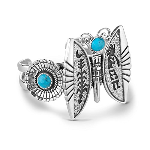 American West Roderick Tenorio Sterling Silver Turquoise Butterfly Cuff by American West