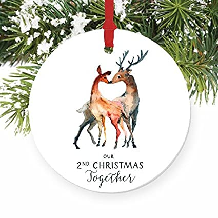 christmas tree ornaments our 2nd christmas together deer couple couples second christmas together craft ornament gift