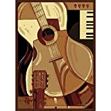 "3'3""x4'11"" Brown Beige Ivory Guitar Piano Printed Area Rug, Indoor Outdoor Graphical Pattern Living Room Rectangle Carpet, Musical Instrument Themed, Vibrant Color Synthetic Material, Elegant Design"