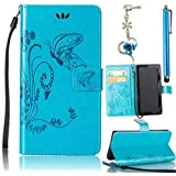 HTC One M8 Case, Bonice 3 in 1 Accessory PU Leather Flip Practical Book Style Magnetic Snap Wallet Case with [Card Slots] [Hand Strip] Premium Multi-Function Design Cover + Stylus Pen + Diamond Blue Flower Antidust Plug, Blue