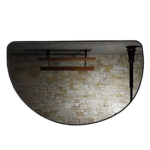Street Decor Comfortable Semicircle Mat,Modern Avenue at Dark Night with a Open Lamp and Bench and Stone Wall Behind Image for Living Room,13.7