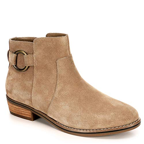 Franco Fortini Womens Brayden Low Heel Ankle Boot Shoes, Taupe, US 11