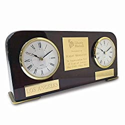 Jewelry Best Seller Dual Time Two Time Zone Wood Desk Award Clock
