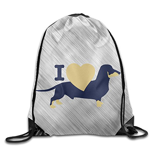 I Love Dachshund Wiener Sport Backpack Drawstring Print Bag