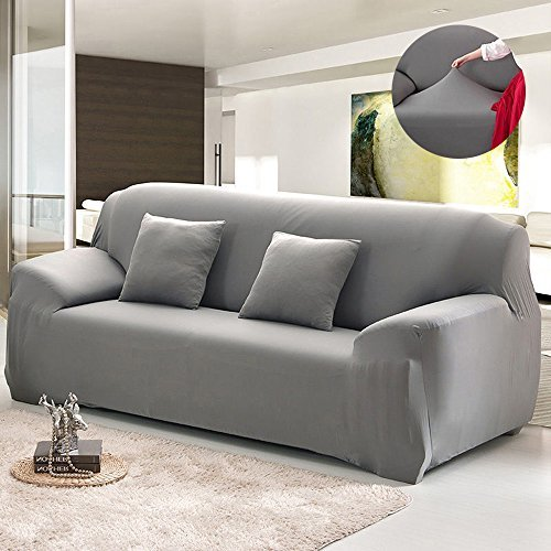 Bluecookies Stretch Arm Elastic Sofa Slipcover, Grey (Sofa Covers For Leather Sofa)
