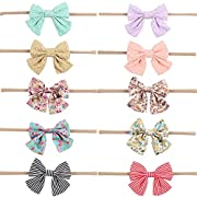 Subesty Soft Nylon Headband Bows for Toddler Baby Girls Infant Newborn Set of 10