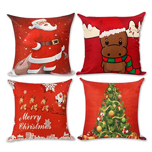 Christmas Pillow Covers Cushion Case - Decorative Square Throw Pillowcase Set 18 x 18 inch Pack of 4   Red Cotton Linen Print Christmas Tree, Santa