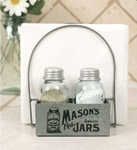 (Mason's Jars Box Salt Pepper and Napkin Caddy)