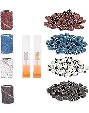 400st Slipband Nail Drill Bits Set Nail Art Sanding Bands 80# 120# 180# 240# Grit File Nail Manicure Pedicure Tool With Shaft