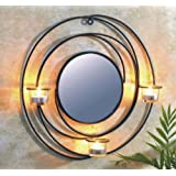 Wall Mirror with Candle Holder for 3Tea Lights–Metal Candle Holder