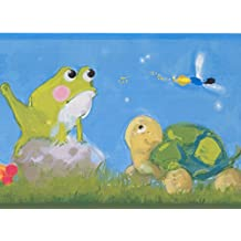 Colorful Faux Paint Snail Frog Dragonfly Turtle Blue Wallpaper Border for Kids, Roll 15' x 6''