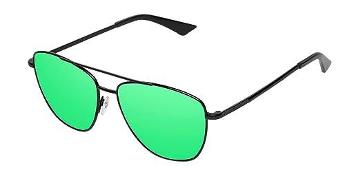 Hawkers Black Emerald Lax, Gafas de Sol Unisex, Negro/Verde