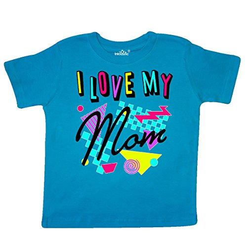 inktastic - I Love My Mom- 80s Retro Style Toddler T-Shirt 2T Turquoise ()