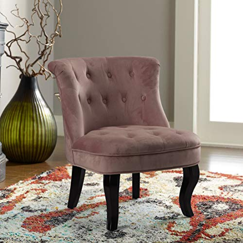 Dark Pink Upholstered Chair | Jane Tufted Velvet Armless Accent Chair with Black Birch Wood Legs – Rosewood Pink