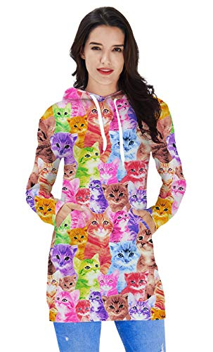 Women Hooded Sweater Dress 3D Printed Colorful Cats Tunic Long Sleeves Crewneck Casual Comfy Home Party Wear Novelty Cute Kitty Patterns Funny Midi Maxi String Girls Solid Shirt Skirts Big Pockets
