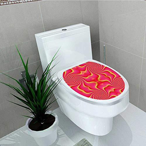 - Philip C. Williams Decal Wall Art Decor Pop Art Produced Figural Expanding Shady Lines and Nested Shape Design Red Yellow for Toilet Decoration W6 x L8