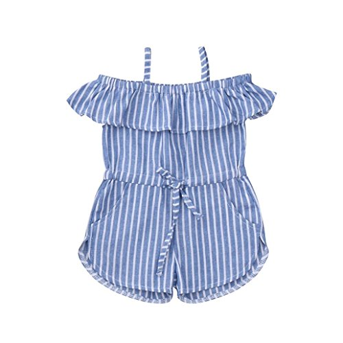 - Jarsh Infant Baby Girls Stripes Printing Romper Strap Ruffle Off Shoulder Jumpsuit (Blue, 24M(18-24Month))