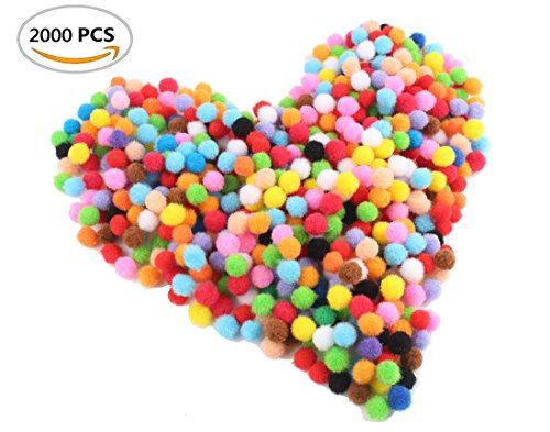 Devis 2000 Piece Pom Poms for Craft Making, Hobby Supplies and DIY Creative Decorations, Assorted Colors