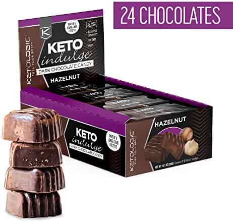 KetoLogic Indulge Keto Chocolate: Sugar Free Chocolate Candy - Low Carb, Dark Chocolate with No Artificial Sweeteners & No Added Sugar | All Natural, Non-GMO, Keto Sweets | Hazelnut (12 Serve)