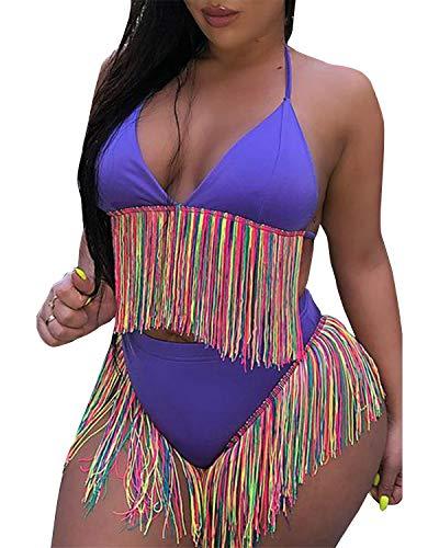 BONESUN Women's Handmade Crochet Swimsuit, Sexy Halter Beach Two Piece Tassel Bikini Blue L