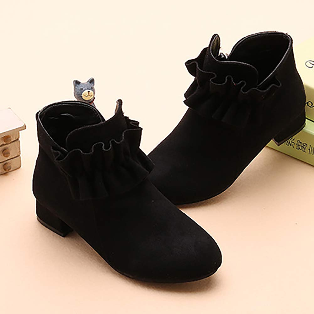 UBELLA Girls Faux Suede Side Zipper Low Heel Ankle Boots Casual Dress Shoes