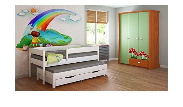 Cama nido para niños Colchones Junior para niños 140x70, 160x80, 180x80, 180x90, 200x90 con colchón de espuma de 10 cm y cajones incluidos.