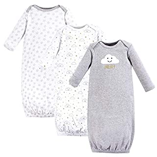 Hudson Baby Unisex Cotton Gowns, Gray Clouds, 0-6 Months