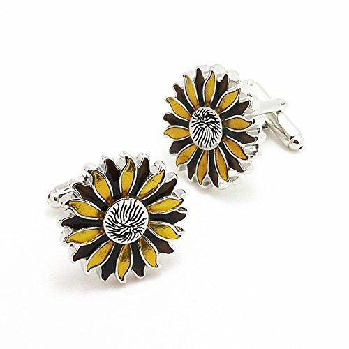 Rhodium Flower (Rhodium Plated Cufflinks Yellow Flower Athens God Sunflower Shirt Wedding Business with Gift Box)