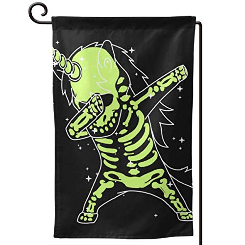 NFEMNEO Dabbing Unicorn Skeleton Garden Yard Flag Double Sided Printed Pageant Home Decor Flag 12.5 X 18 Inches -