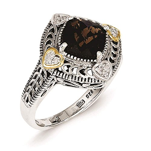 Shey Couture - 925 Sterling Silver w/14k Gold Accent Diamond & Smoky Quartz Ring Size ()