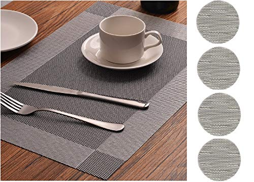 FiveRen Table Mats Washable Non Slip Kitchen Plastic Dining Placemats and Coasters(Set of 4, - Set 4 Coasters