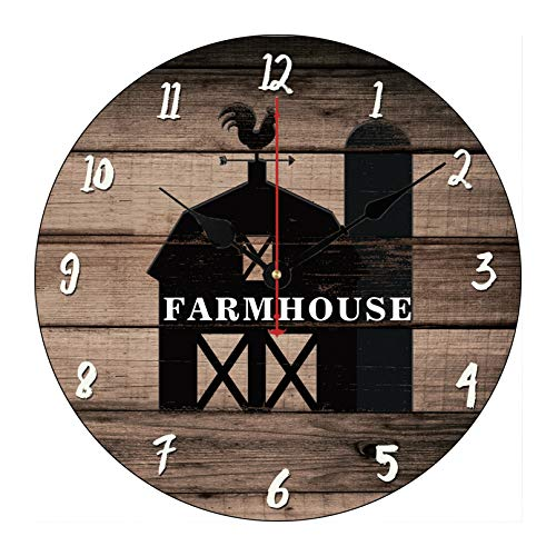 (Rustic Weathered Wood Black Barn Country Farmhouse Wooden Wall Clock for Living Room Bedroom Kitchen Home Office Decoration 12 Inches)