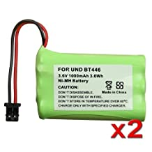 eForCity 2x 3.6V 1000mAh BT446 Battery Compatible with Uniden Cordless Phone