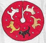 "Handmade Felt Christmas Tabletop Tree Skirt, Dog, 16"" Wide"